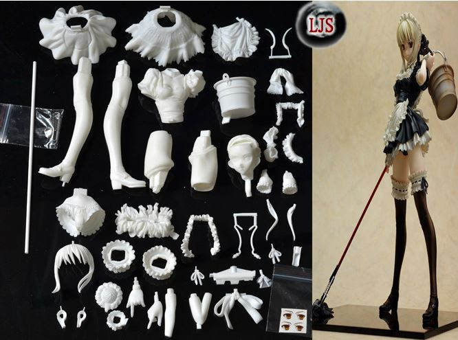 100-Cast-Material-GK-Action-Figure-Blank-White-DIY-Black-Saber-Maid-with-Mop-Nude-Action.jpg
